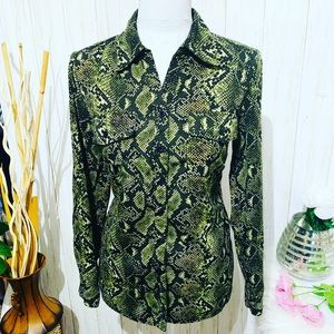 Notations Green Python Print Blouse Size Small